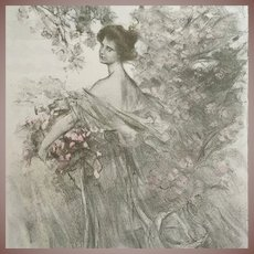 "Antique Signed French Lithograph ""Printemps' Limited Edition L'Estampe Moderne 1897"