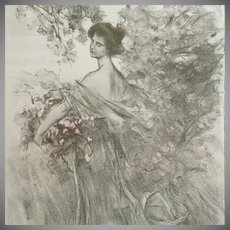 "SALE: Signed French Lithograph ""Printemps' Limited Edition L'Estampe Moderne 1897"