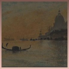 Whistler Venetian Sunset Color Lithograph 'The Salute' from Studio Magazine 1895.