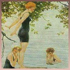 Art Deco German Signed 'The Bathers' Postcard c1918