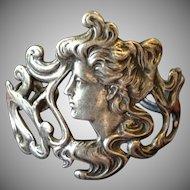 Amazing Nouveau Revival Sterling Silver Lady Face Bangle Bracelet