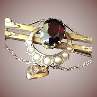 SALE: Victorian Garnet Seed Pearl and 9ct Rose Gold-wash Bar and Horse Shoe Brooch Pin with Puffy Heart.