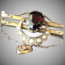 Victorian Garnet Seed Pearl and 9ct Rose Gold-wash Bar and Horse Shoe Brooch Pin with Puffy Heart.