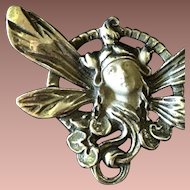 SALE: Nouveau Revival Pendant Brooch 'Winged Maiden' Sterling Silver c1970.