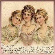 Antique German 'Vienneoise Three Ladies' Postcard 1902