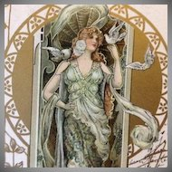 Antique Eva Daniell 'Maiden with Doves' Gilded Art Nouveau French Postcard 1902 Rare.