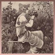 Art Nouveau 'Maiden in a Garden' French Postcard 1904