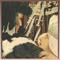 Antique English Original Signed 'Studio' Lithograph 1896. Henri Bellery-des-Fontaines