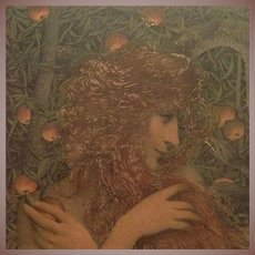 Hand Gilded Antique French Engraving 'Eve' 1896.