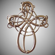 Large Sterling Silver Celtic Knot Brooch Pin
