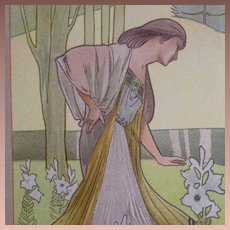 Rare French 19th Century Color Chromo Lithograph from Le Journal de la Decoration. Robert Ruepp.