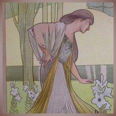 Rare French 19th Century Color Chromo Lithograph from Le Journal de la Decoration. Robert Ruepp.