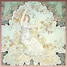 Original French Signed Engraving 'La Vigne' from Album de la Decoration 1900