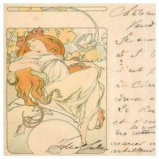 Mucha Antique Original French Postcard 1904