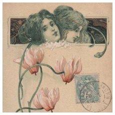 French Art Nouveau 'Language of Love' Gilded Flower Postcard 1905.