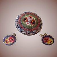 Antique Italian Micro Mosaic Brooch and Earrings Demi-Parure c1890.