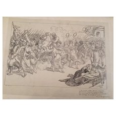 Antique French Signed War Lithograph 'Chant des Girondins' 1915. BY Adolphe Willette