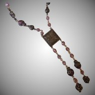 1930's Czech Brass and Amethyst Glass Lavalier Necklace.
