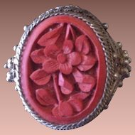 SALE: Antique Chinese Filigree Silver and Cinnabar Adjustable Ring.