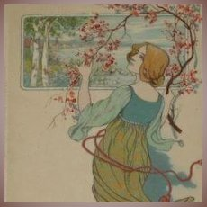 German M&B Lithographic 'Girl with Blossom' Postcard c1900 Art Nouveau