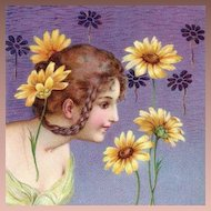English Art Nouveau Girl with Braids and Daisies Postcard 1904.