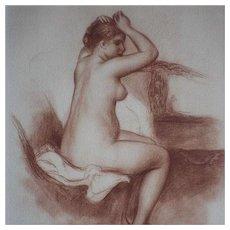 SALE: Signed School of Renoir Sanguine Nude Numbered Engraving 'Jeune Femme Nue' 1923