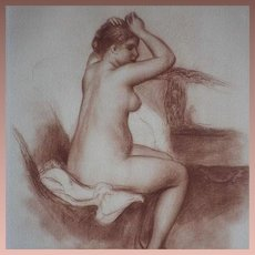 SALE: Signed School of Renoir Sanguine Nude Numbered Engraving 'Jeune Femme Nue' 1923