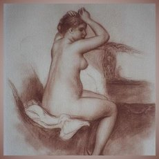 Signed Nude School of Renoir Sanguine Numbered Engraving Jeune Femme Nue 1923