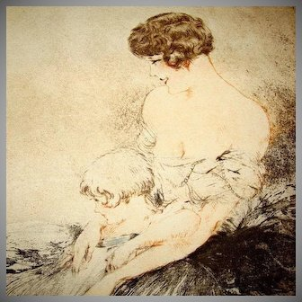 SALE: Original Louis Icart 'Le Jardin Japonaise' L'Illustration Etching and Aqua Tint 1932.