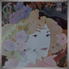 SALE:Rare Original French Typogravure 'Femme Fleurs' from Figaro Illustre 1900. Art Nouveau