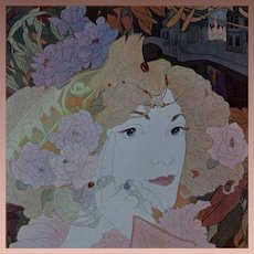 SALE:Rare Original French Typogravure 'Femme Fleurs' from Figaro Illustre 1900. Art Nouveau