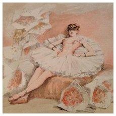 SALE: Signed French Magazine Ballet Engraving 'Le Reve d'une Danseuse' c1885