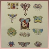 SALE:Antique Full Color Engraving 'Art Nouveau Jewelry Designs' 1901.