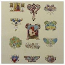 SALE:Antique Full Color Engraving 'Art Nouveau Jewelry Designs' 1901.
