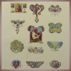 Full Color Engraving Art Nouveau Jewelry Designs 1901 Les Documents Decoratif.