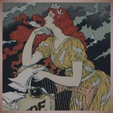 Original French Lithograph 'Encre L. Marquet' from Les Affiches Illustrees series 1896 by Grasset Rare.