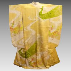 Cream and Yellow Silk Satin Japanese Furisode Kimono with Painted and Gold and Silver Embroidered Peacocks.