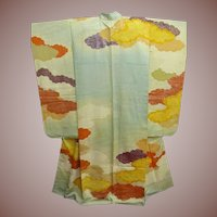 Aqua Blue Silk Furisode Kimono with Painted Clouds and Gold Embroidery Meiji era 1910.