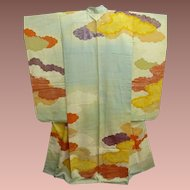 Antique Meiji Era Aqua Silk Furisode Kimono with Painted Clouds and Gold Embroidery c1910.