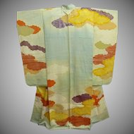 SALE: Aqua Silk Furisode Kimono with Painted Clouds and Gold Embroidery Meiji era 1910.
