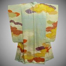 SALE: Aqua Silk Furisode Kimono with Painted Clouds and Gold Embroidery Meiji era 1910.