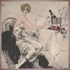 Louis Icart French Etching with Aquatint Private Menu 1946 Rare
