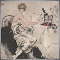 Rare Louis Icart French Etching with Aquatint Private Menu 1946