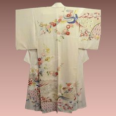 SALE: Japanese Silk Kimono with Pink Clouds and Hand Painted Peacocks, Flowers and Gold Details. c1940
