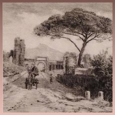 Original Italian Etching 'Osteria del Pina' Signed by Olivetti 1900. Rare Limited Edition.