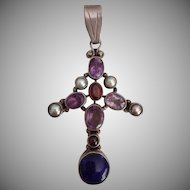 Vintage Sterling Pendant with Lapis Lazuli, Garnet, Amethyst and Faux Pearls.