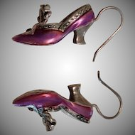Raine Silver, Pink Enamel and Garnet 3 Dimensional Shoe Dangle Earrings.