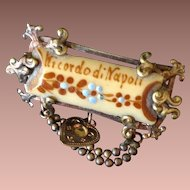 Grand Tour 'Ricordo di Napoli' Flower Painted Souvenir of Naples Brooch