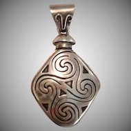 Etched Silver Perfume Bottle Pendant with Celtic Design