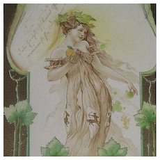 Antique Horoscope 'Sagittarius' Gilded Postcard c1900